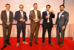 Siegerehrung der M7 Partner Awards 2019 (v.l.n.r): Hans Troelstra (M7 Group), Lühr-Martin Lemkau (Sony Pictures Entertainment Deutschland GmbH), Jens Müller (Deutsche Glasfaser), Yoann Carroux (Salt) und Christian Heinkele (Eviso Germany GmbH).